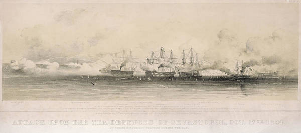 Wall Art - Drawing - Allied Warships Bombard The  City, But by Mary Evans Picture Library