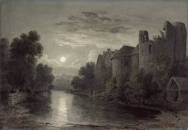 James River Photograph - Allington Castle, Near Maidstone, Kent; Moonlight by James Bayes