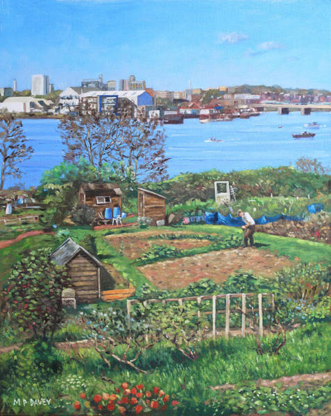 Painting - Allotments At Southampton Beside River Itchen by Martin Davey