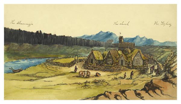 Faroe Island Wall Art - Painting - Almanna Gorge Circa 1862 by Aged Pixel