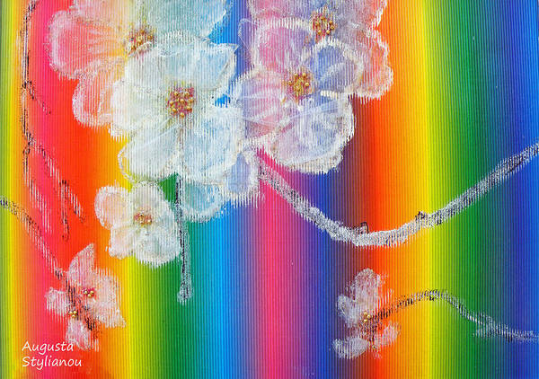 Almond Painting - Almond Flowers On Spectrum by Augusta Stylianou