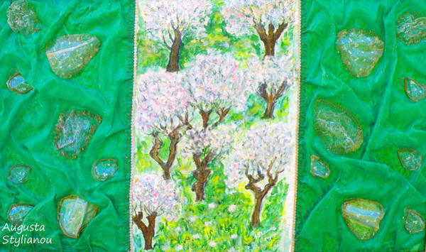 Almond Painting - Almond Trees And Leaves by Augusta Stylianou