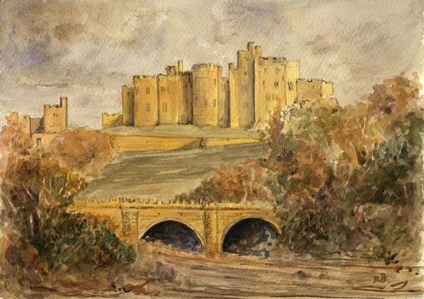 England Painting - Alnwick Castle by Juan  Bosco