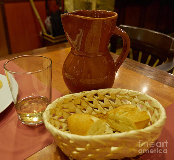 Cantina Photograph - A Loaf Of Bread And A Jug Of Wine by Louise Heusinkveld