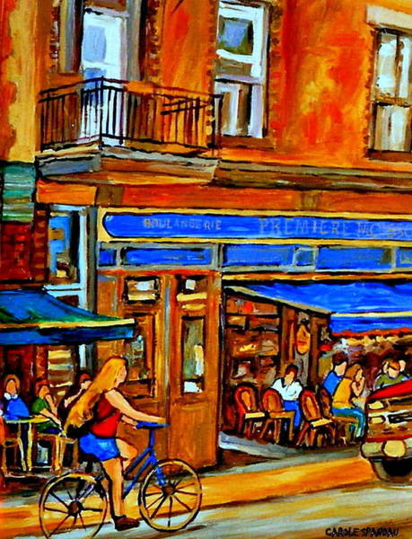 Painting - Along The Bike Path Blonde Girl Cycles Past Montreal Cafe Scene Memories Of Summertime In The City by Carole Spandau