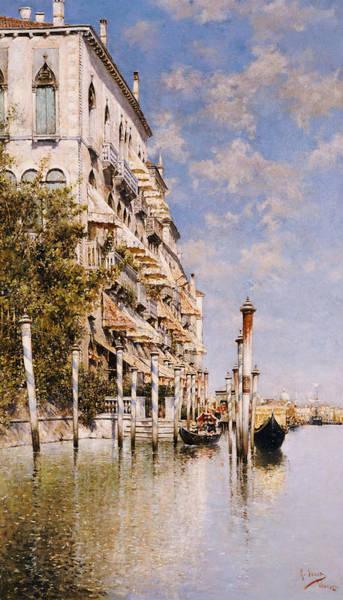 Narrow Boat Wall Art - Painting - Along The Grand Canal by Rafael Senet