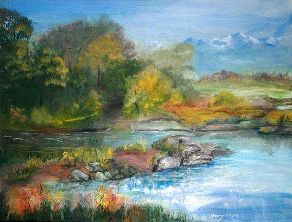 Painting - Along The Riverbank by Sherry Shipley