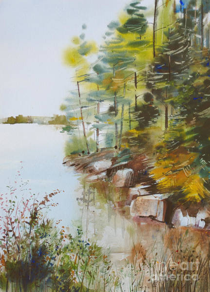Waterway Painting - Along The Shore by P Anthony Visco