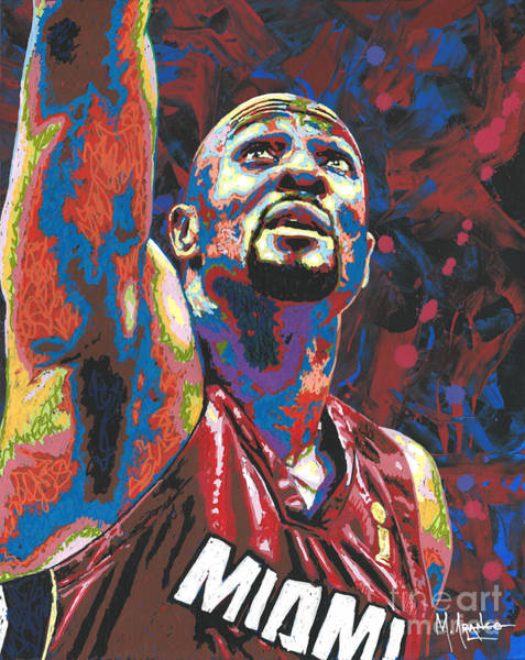 Hoops Painting - Alonzo Mourning by Maria Arango