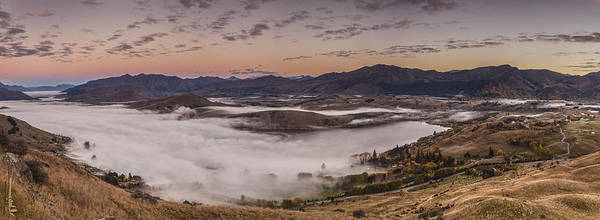 Hedgehog Photograph - Alpenglow And Fog  Lake Hayes Arrowtown by Colin Monteath, Hedgehog House