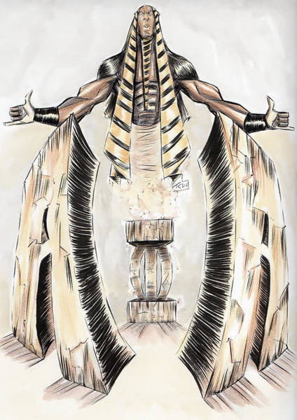 Greek Mixed Media - Alpha Pharaoh  by Tu-Kwon Thomas