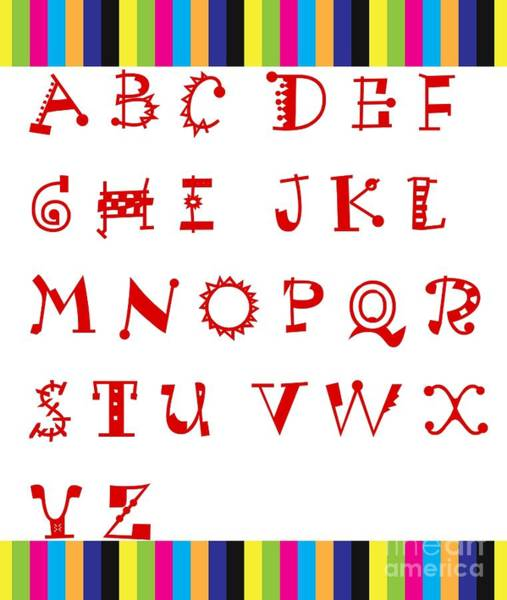 A To Z Digital Art - Alphabet With Multicolor by Barbara Griffin