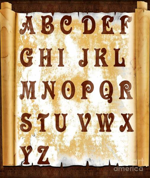 A To Z Digital Art - Alphabet With Scroll by Barbara Griffin