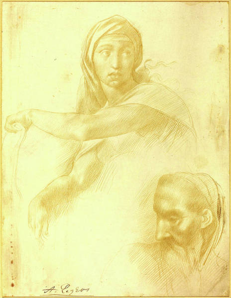 Prepare Drawing - Alphonse Legros After Michelangelo, Study Of Delphic Sibyl by Litz Collection