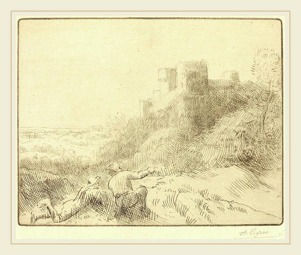 Chateau Drawing - Alphonse Legros, Old Chateau Un Vieux Chateau by Litz Collection