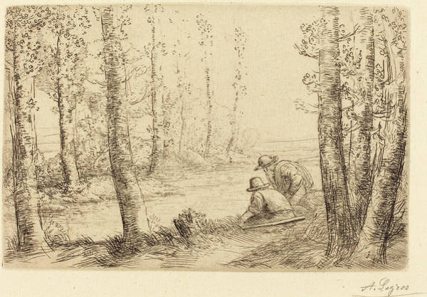 River Bank Drawing - Alphonse Legros, Rest Along The Banks Of The River Repos Au by Quint Lox