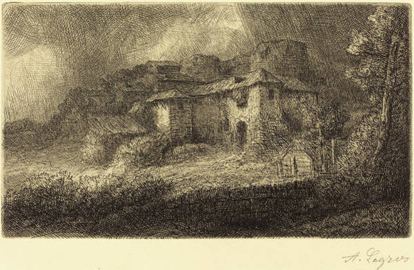 Chateau Drawing - Alphonse Legros, Ruins Of A Chateau Les Ruines Du Chateau by Quint Lox