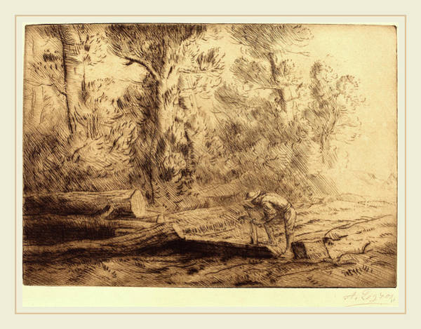 Log Drawing - Alphonse Legros, Squaring Logs Homme Que Fend Des Buches by Litz Collection