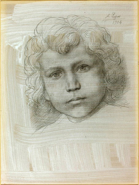 Wall Art - Drawing - Alphonse Legros, Study Of Cupid Head Of A Girl by Quint Lox