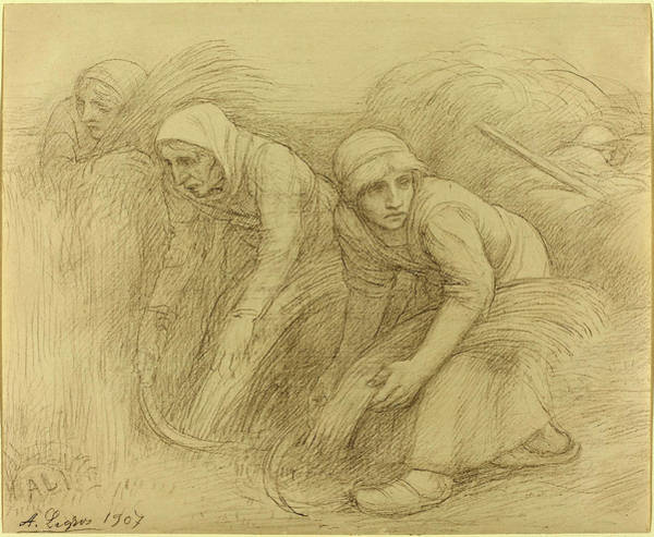Prepare Drawing - Alphonse Legros, The Reapers, French, 1837 - 1911 by Quint Lox