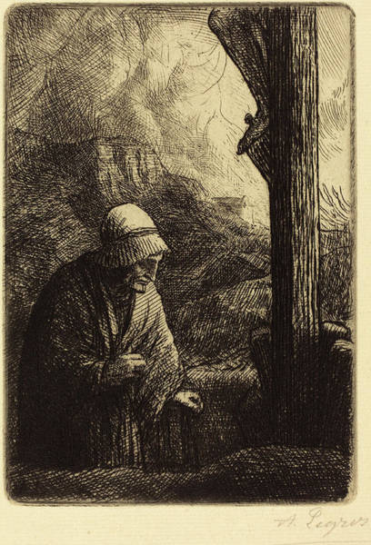 Wall Art - Drawing - Alphonse Legros, Woman At The Foot Of The Cross Femme Au by Quint Lox
