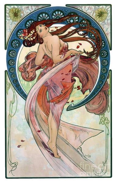 Alphonse Mucha Painting - Alphonse Mucha - The Arts Dance - 1898 by Pablo Romero