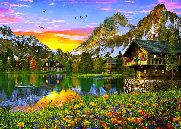 Wall Art - Painting - Alpine Sunset by MGL Meiklejohn Graphics Licensing