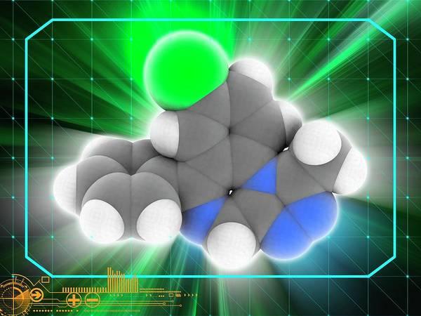 Wall Art - Photograph - Alprazolam Anxiolytic Drug Molecule by Laguna Design/science Photo Library
