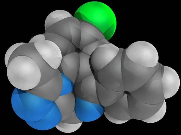 Short Cut Photograph - Alprazolam Drug Molecule by Laguna Design/science Photo Library