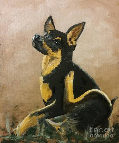 Painting - Alsatian Puppy Scratching by Abbie Shores