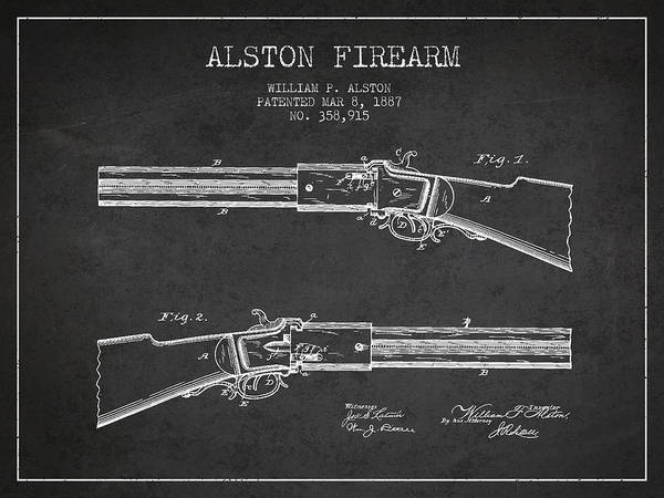 Shooting Digital Art - Alston Firearm Patent Drawing From 1887- Dark by Aged Pixel
