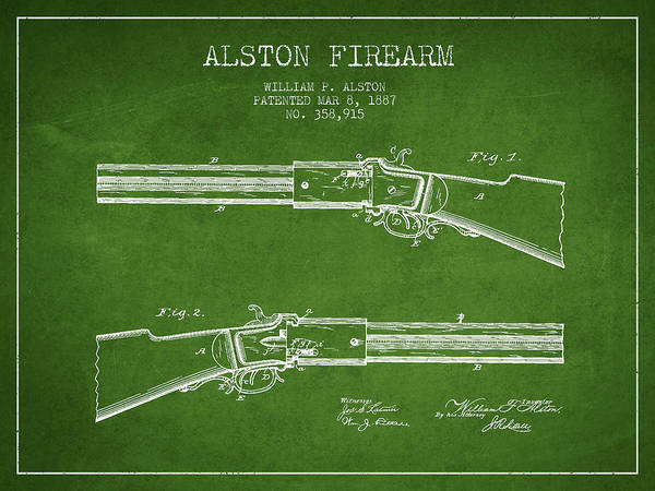 Weapons Digital Art - Alston Firearm Patent Drawing From 1887- Green by Aged Pixel