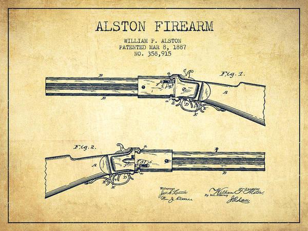 Antique Firearms Wall Art - Digital Art - Alston Firearm Patent Drawing From 1887- Vintage by Aged Pixel