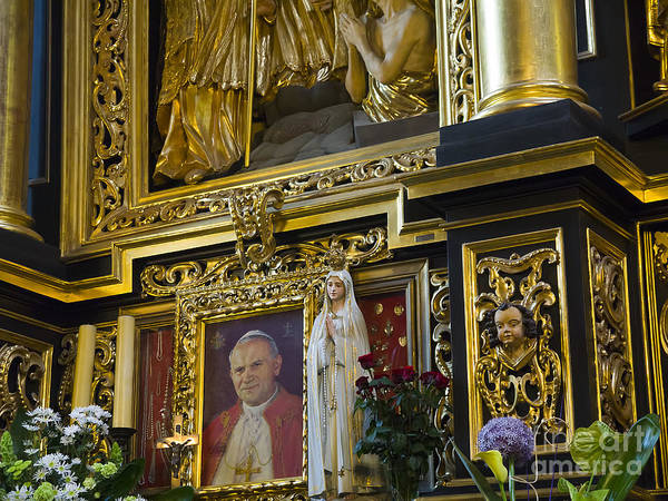 Photograph - Altar With Pope John Paul The Second by Brenda Kean