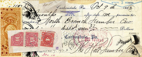 Correspondence Photograph - Altered Check 1923 by Carol Leigh