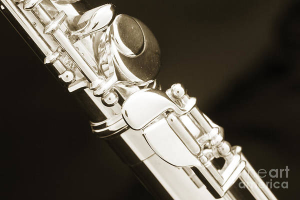 Photograph - Alto Flute Instrument Foot Keys Photograph In Sepia 3455.01 by M K Miller