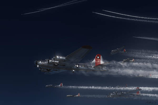 Bomber Painting - Aluminum Overcast Enroute by Hangar B Productions