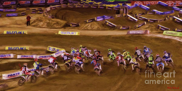 Photograph - Ama 450sx Supercross Andrew Short Holeshot by Blake Richards