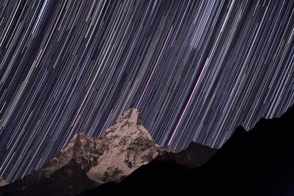 Nepal Photograph - Ama Dablam Startrails by Babak Tafreshi/science Photo Library