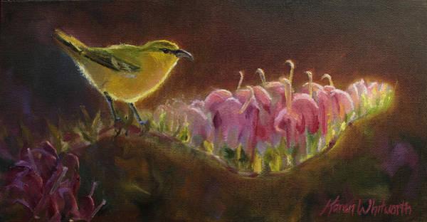 Painting - Amakihi And Kolii - Native Hawaiian Bird by Karen Whitworth