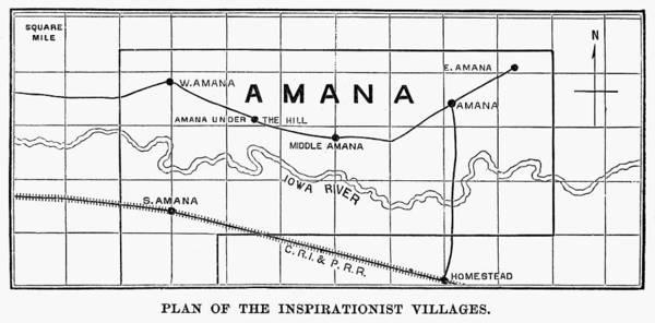 Amana Wall Art - Photograph - Amana, Iowa: Map, 1875 by Granger