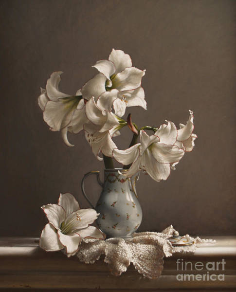 Wall Art - Painting - Amaryllis In A French Chocolate Pot by Lawrence Preston
