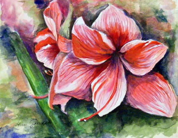 Red Amaryllis Painting - Amaryllis by Lenore Gaudet