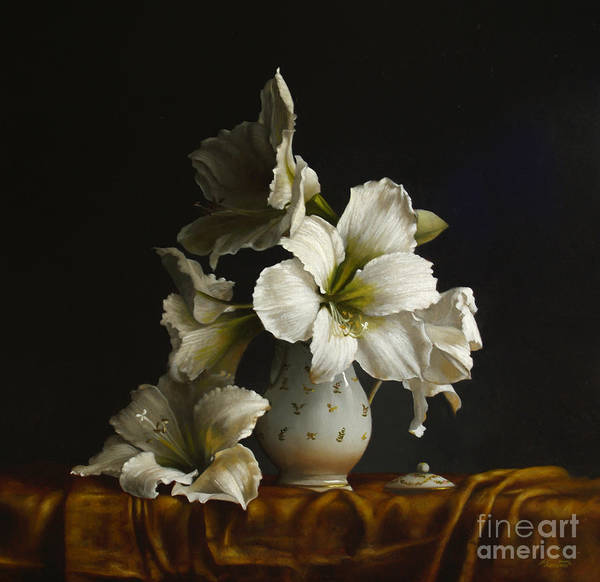 Wall Art - Painting - Amaryllis On Silk by Lawrence Preston