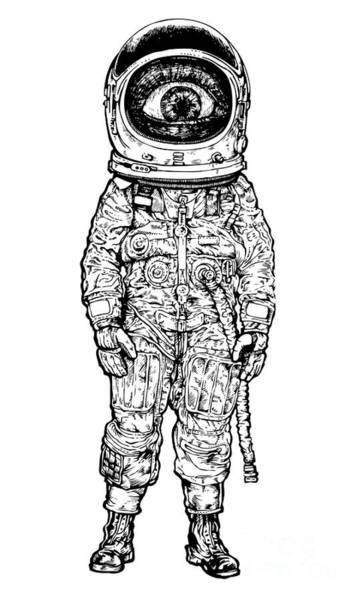 Young Man Wall Art - Digital Art - Amazement Astronaut. Vector Illustration by Jumpingsack