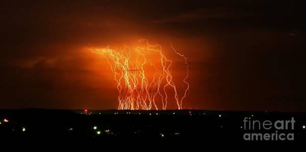 Wall Art - Photograph - Amazing Lightning Cluster by Michael Tidwell