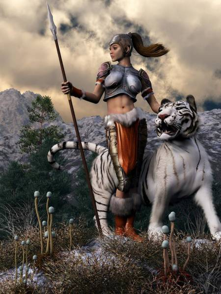 Valkyrie Digital Art - Amazon And White Tiger by Kaylee Mason