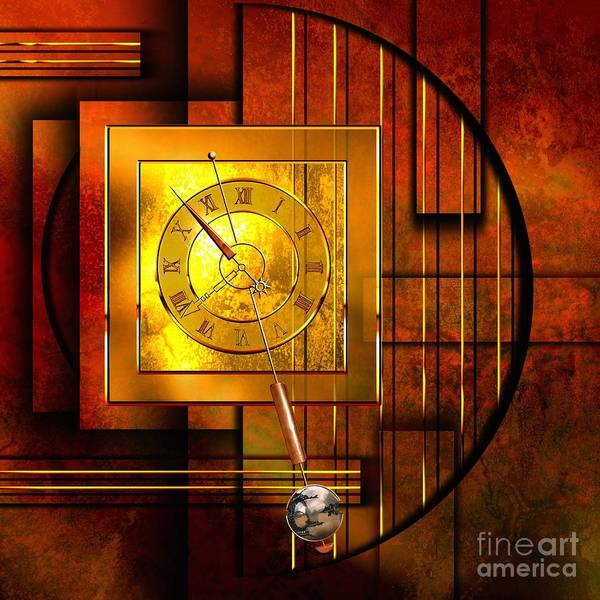 Birth Digital Art - Amber Clock by Franziskus Pfleghart
