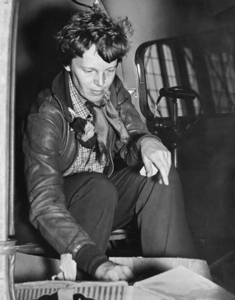 1937 Photograph - Amelia Earhart Checks Supplies by Underwood Archives