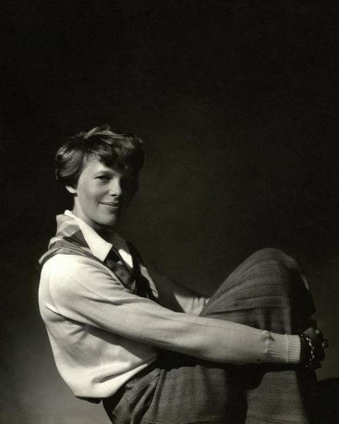 Sports Photograph - Amelia Earhart Hugging Her Knees by Edward Steichen
